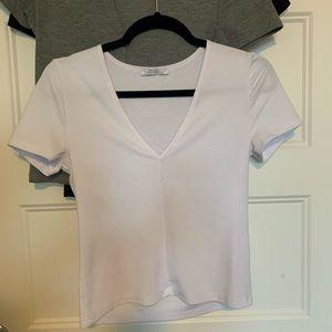 Zara White V-neck T-shirt Top